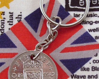 1959 Old Scottish Shilling Coin Keyring Key Chain Fob Queen Elizabeth