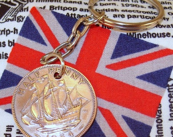 1954 Half  Penny Old Half Penny English Coin Keyring Key Chain Fob Queen Elizabeth II
