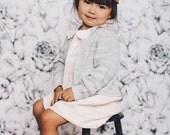 "Black and White Floral Wallpaper, Girls Room Wallpaper, Flower Pattern - 100"" x 108"""