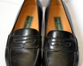 Vintage COLE HAAN Green Label Black Apron Toe Penny Loafers Size 11.5D Made in Italy
