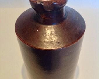 19th Century Doulton Lambeth Ink Bottle. Stoneware Ink Bottle. Victorian English Stoneware. Doulton Lambeth Stoneware. Rustic Decor.