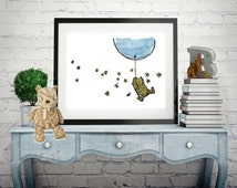 Winnie The Pooh Wall Art, Baby Nursery Art, Classic Winnie The Pooh Quote, Baby Print, Pooh holding balloon : With or without Mount