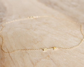 Gold Arrow Necklace - 14k Gold Filled Necklace - Valentine Day Gift For Her - Thin Necklace - Gold Charm - Shooting Arrow Charm Necklace