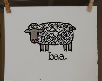 baa. sheep original linoleum print 8 x 10 paper watercolor paper hand colored folk art on heavy watercolor paper ready to frame