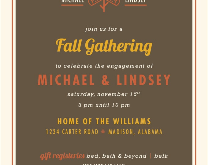 Fall Gathering Engagement Party Invitation | Digital Download
