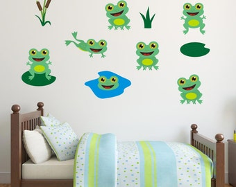 Friendly Frogs Wall Stickers, Frog Wall Decals, Animal Wall Art, Bedroom Wall Transfers - Removable and Repositionable - FA093