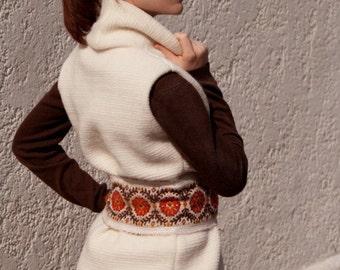 Fall,Long Coat for Women, sweaters, vest, boho chic, hippie, boho chic sweaters, Ethnic, vest, long vest, folklore vest, wool, wool white