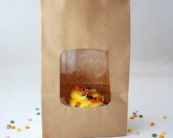 50 White Gloss or Kraft Window Bags - Tin Tie Bags
