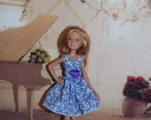 Handmade Stacie Dress.  Purple Flower Dress with a Purple Heart Applique. Handmade Clothes for  Barbie's Sister Stacie by Jan.