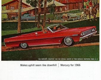 1966 Mercury Car Ad - Vintage Lincoln Mercury by Ford at Pine Needles Lodge NC - Automobile Illustration Art Wall Decor Home Office Man Cave
