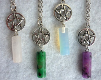 Pendulum & Pentacle Necklace Misty Day - Wicca - Several colors - Pentagram Stone Glass Quartz Crystal Jasper Elven