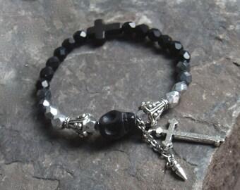 Skull Day of the Dead Bracelet Skull Bracelet Skull Bracelet Jewelry Dia Le Los Muertos Punk Rocker Gothic Goth Bracelet Jewelry Skull black