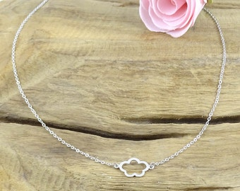Cloud necklace rhodium plated - silver