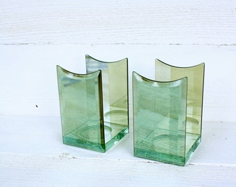 Vintage Pale Green Glass Partylite Candle Holders- Set of Two