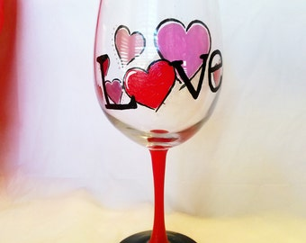 Gift For Her, Hand Painted Wine Glass, Girlfriend Gift, Stemless Wine Glass, Love Gift, Love Wine Glass, Custom Wine Glass, Wine Gift