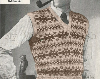 1940s Fair Isle Pullover Vintage Knitting Pattern - Instant Download - PDF Knitting Pattern