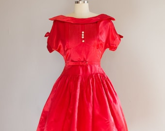 1950's Red Satin Party Dress / Rhinestones / Size Medium