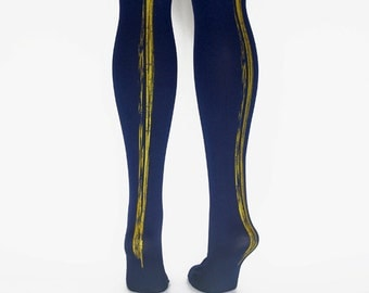 hand printed navy paint stripe tights