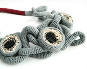 From the Inside /Gray Crochet Necklace