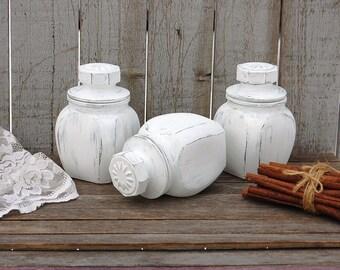 Spice Jars, Tea Jars, Canister Set, Bathroom Jars, Shabby Chic, White, Glass, Hand Painted, Distressed, Kitchen Organization, Storage