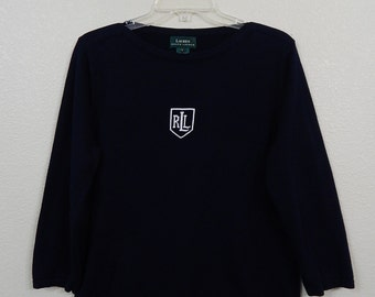 Lauren Womens Large (Ralph) Monogrammed Navy Blue Soft Pullover Long Sleeve Sweater