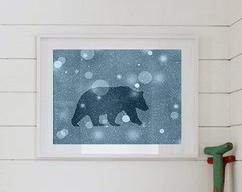 Bear Silhouette Print 8 x 10, Bear Art, Bronze, Silver, Winter Print, Woodland Bear, Rustic Decor, Winter Decor, Snowing