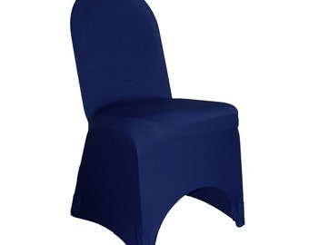 YCC Linen   Spandex Banquet Chair Cover Navy Blue | Wholesale Chair Covers