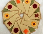 Kraft cards - Fall Leaves and Flowers (blank, set of 10, with envelopes)