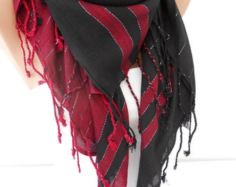 Tassel Scarf Women Cowl Scarf Burgundy Black Scarf Fall Winter Fashion Women Fashion Accessories Christmas Gift Ideas For Her MiracleShine