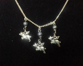 Silver and Hematite Flying Pig Necklace