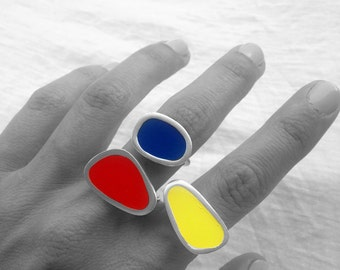 Color Block Statement Ring Primary Palette Bright Sterling Silver Pebbles Enamel Resin Happy Dynamic Modern Woman Jewelry Clear Lines Gift