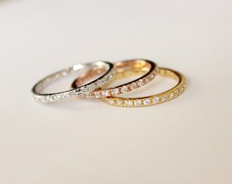 Choose a color - gold or rose gold or white gold ring, Stackable Ring, CZ Band Ring, tiny ring, wedding ring, midi ring, engagement,wedding