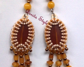 Beaded Earrings, Beadwork Earrings, Beadweaving Jade, Amber Pendant Earrings, Long Earrings, Beaded Pendant Earings - amber - gold - white