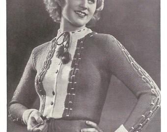 1930s Knitting Pattern for Womens Tyrolean Smocked Cardigan / Vest / Jacket - 33 in bust 84 cm  - Digital PDF