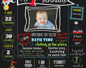First Birthday Circus Theme Chalkboard Poster, Carnival Poster, Milestones poster DIGITAL FILE