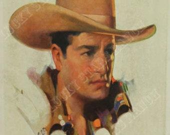 Cowgirl Cowboy Print - Stetson Hat Cowboy - 18x24