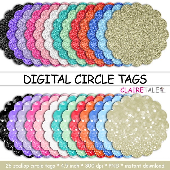 """Digital scalloped circle tags: """"DIGITAL CIRCLE TAGS"""" scalloped circle glitter bokeh labels / glitter frames / glitter cake toppers / clipart"""