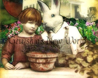 Beyond The Garden Wall, They Wait - Anthropomorphic Watercolor Collage Fairy Tale Art Print
