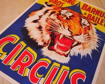 Vintage Tiger Circus poster – digital print