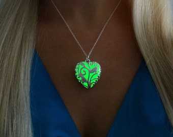 Green Glowing Heart - Glow in the Dark Jewelry Pendant Necklace - Gift for Her - Valentines Gift