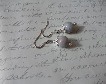 Aquamarine gemstone drop earrings