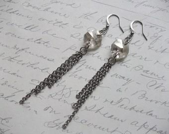 Silver shadow crystal chain long earrings