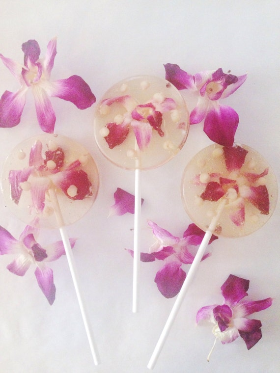 3 Coconut Flavored Wedding Celebration Party Favors Lollipops With Valhrona White Chocolate Pearls And Edible Orchids