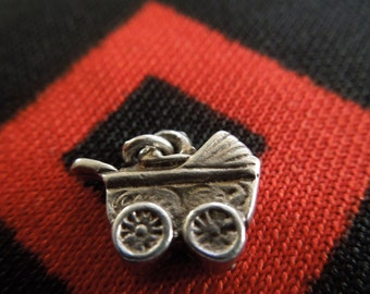 Sterling Buggy Charm Vintage Baby Carriage Stroller Charm Sterling Silver Charm for Bracelet from Charmhuntress 00777