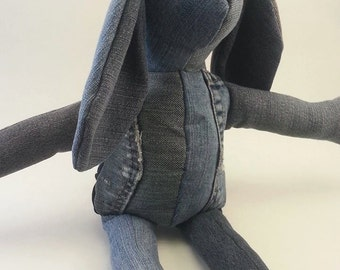 Blue Jean Bunny Rabbit 100% recycled blue jeans.