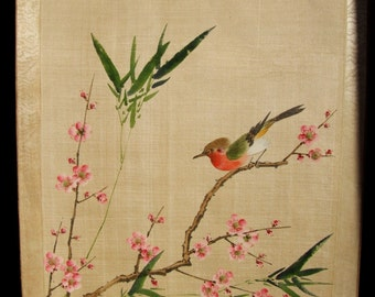 Chinese 1950s painting on silk with colorful flowers and bird (32,5 x 38 cm), unframed asian oriental wall hanging
