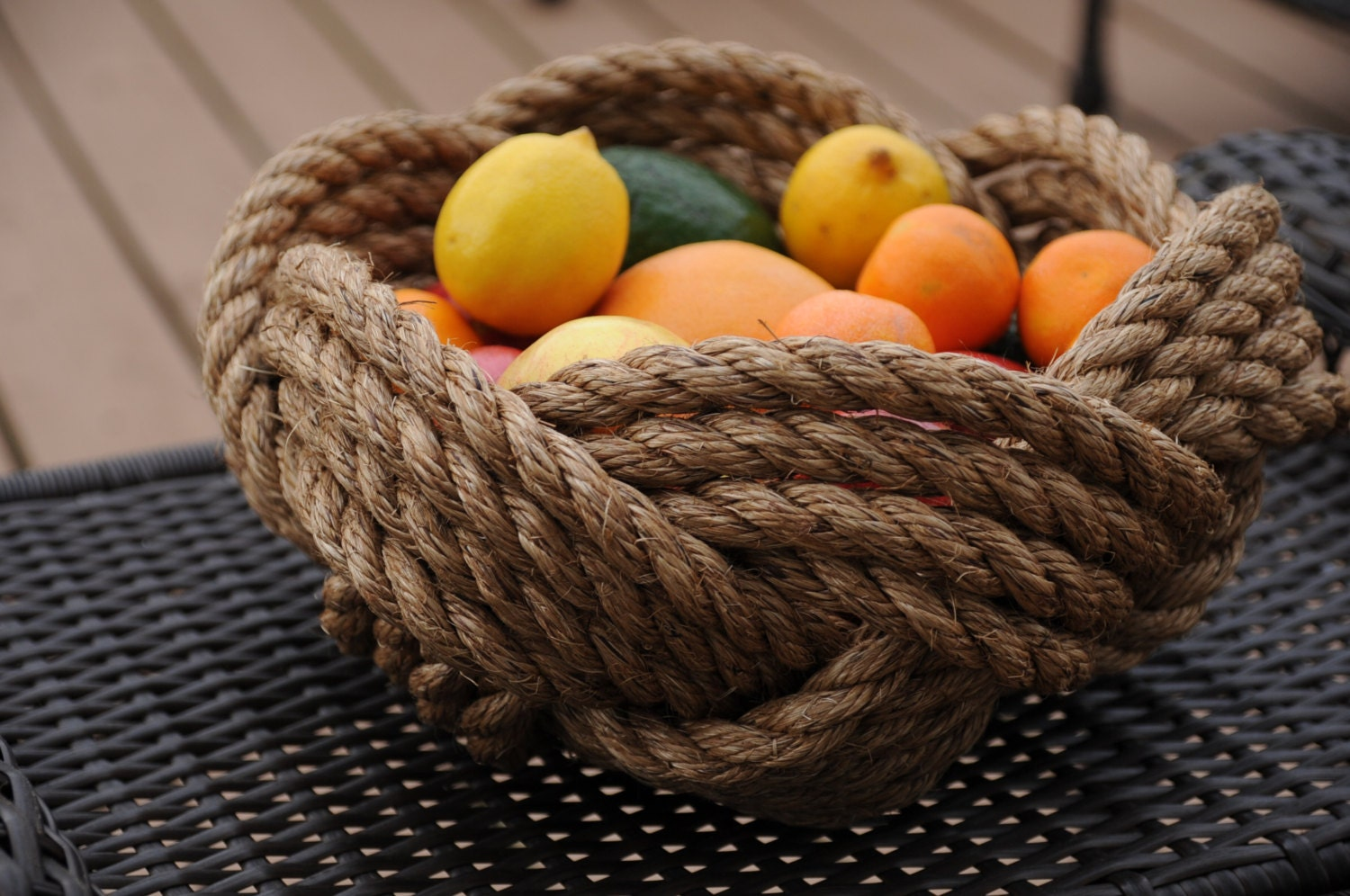 Nautical decor manila rope bowl rope knot bowl large for Large nautical rope