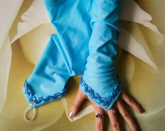 Elsa Frozen Extra Long Arm Warmers Ice Blue Frozen Fingerless Gloves Disney Elsa Arm Warmers