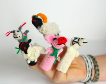 Knit Finger Puppets - Set of 3 - Fun for role play, homeschool learning, story telling etc