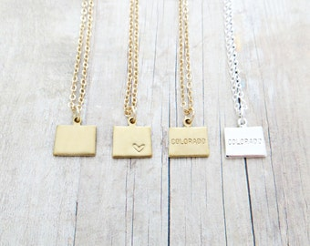 Colorado State Charm Personalized Necklace (Gold or Silver)